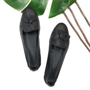 Aldo Black Leather Tassel Ballet Loafer Flats